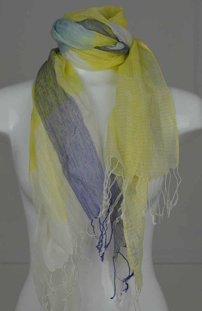 Yellow/Aqua/Navy Linen Tassel Scarf - desray.co.za