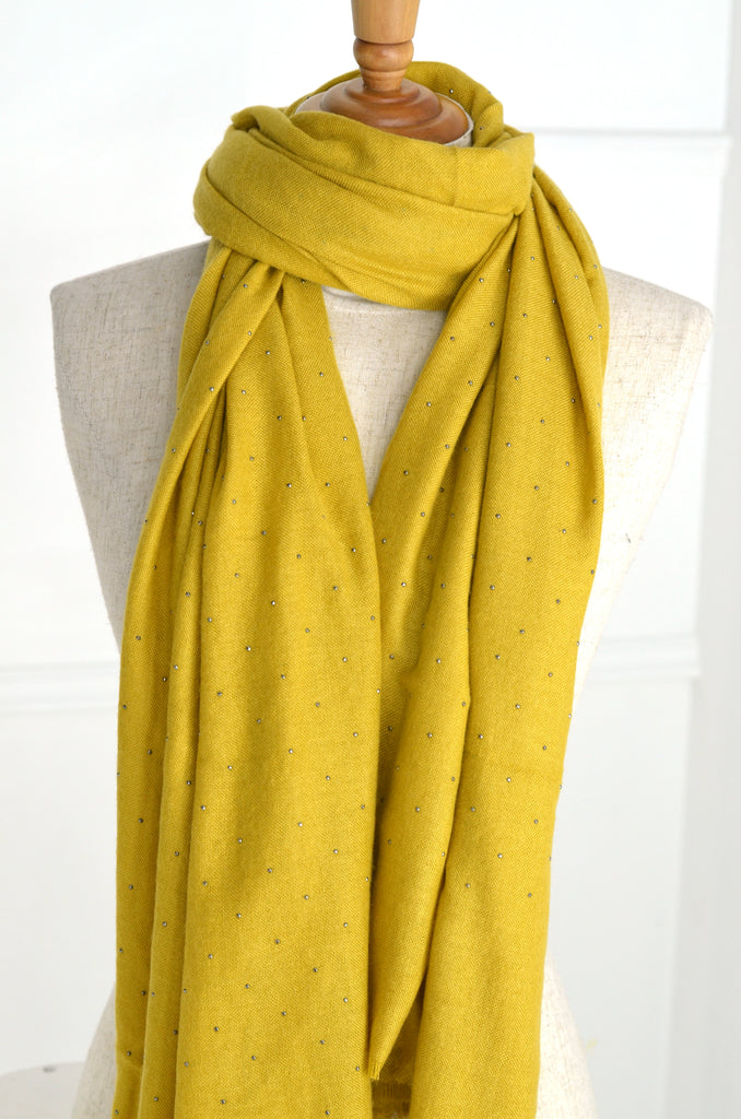 Mustard Beaded Scarf - desray.co.za