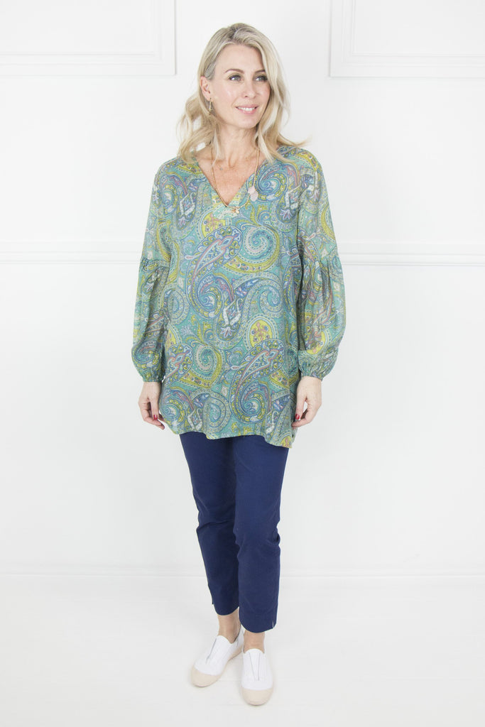 Green Paisley Bell Sleeve Top - desray.co.za