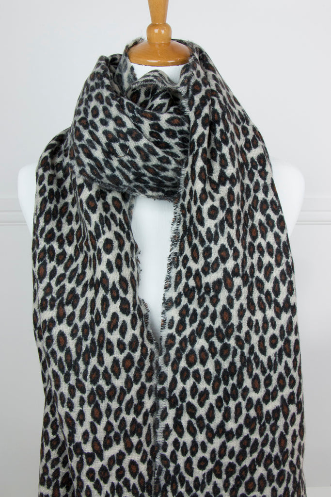 Cream Animal Print Scarf - desray.co.za