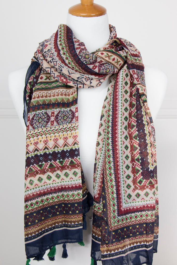 Multi Print Jewel Scarf - desray.co.za
