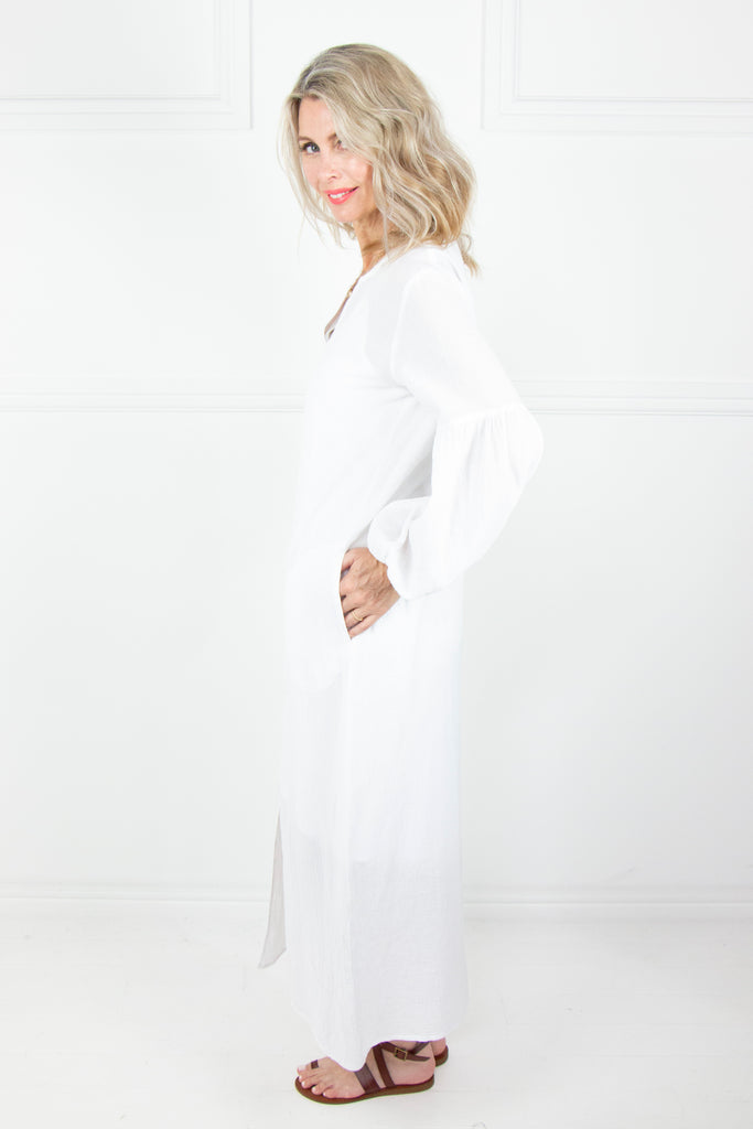 White Crinkle Bell Sleeve Dress