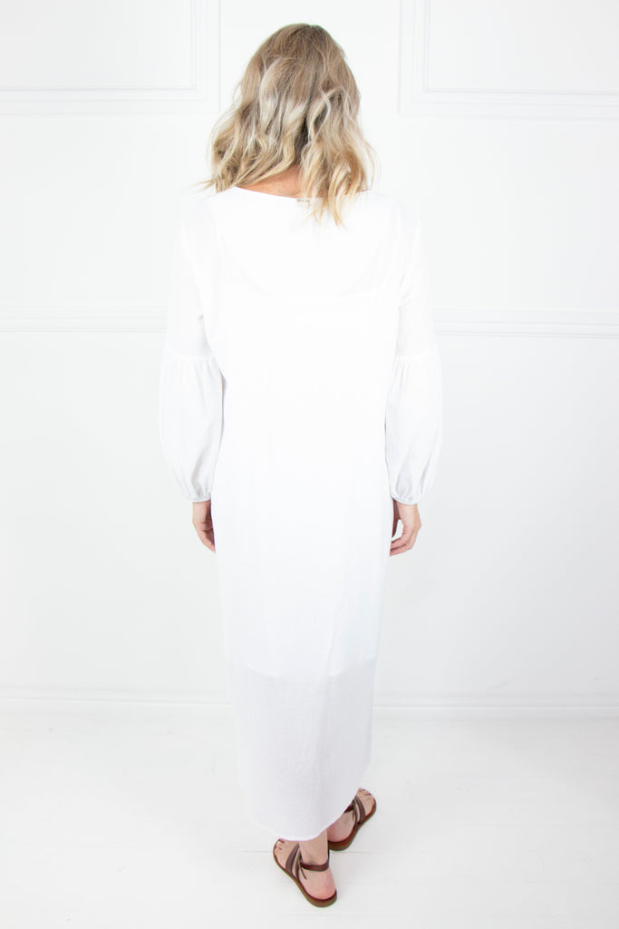 White Crinkle Bell Sleeve Dress - desray.co.za