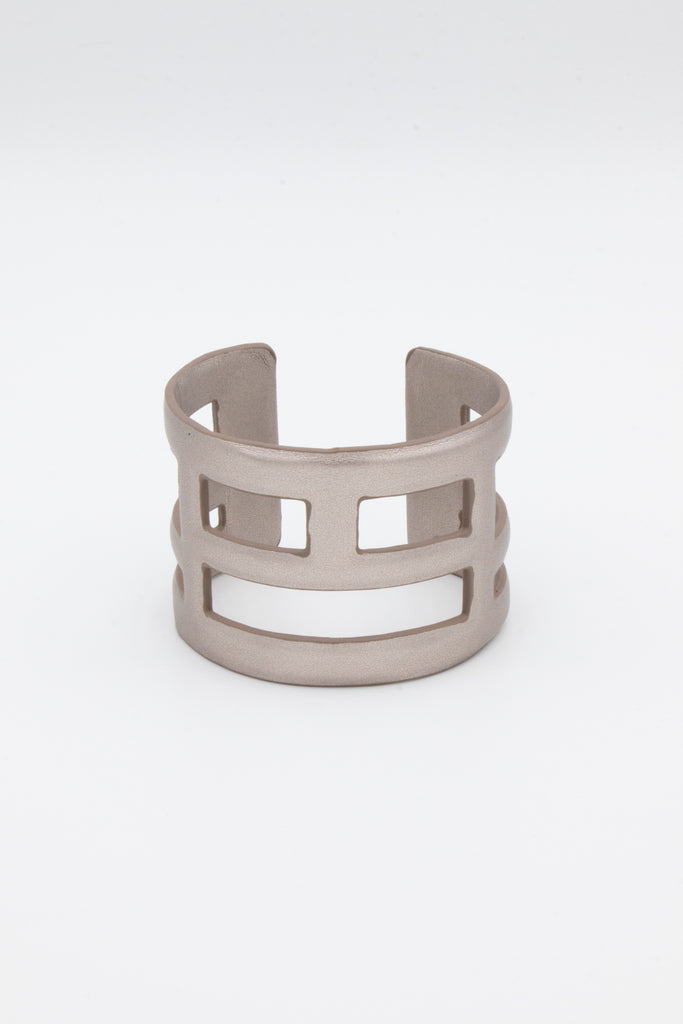 Silver Leather Cuff - desray.co.za