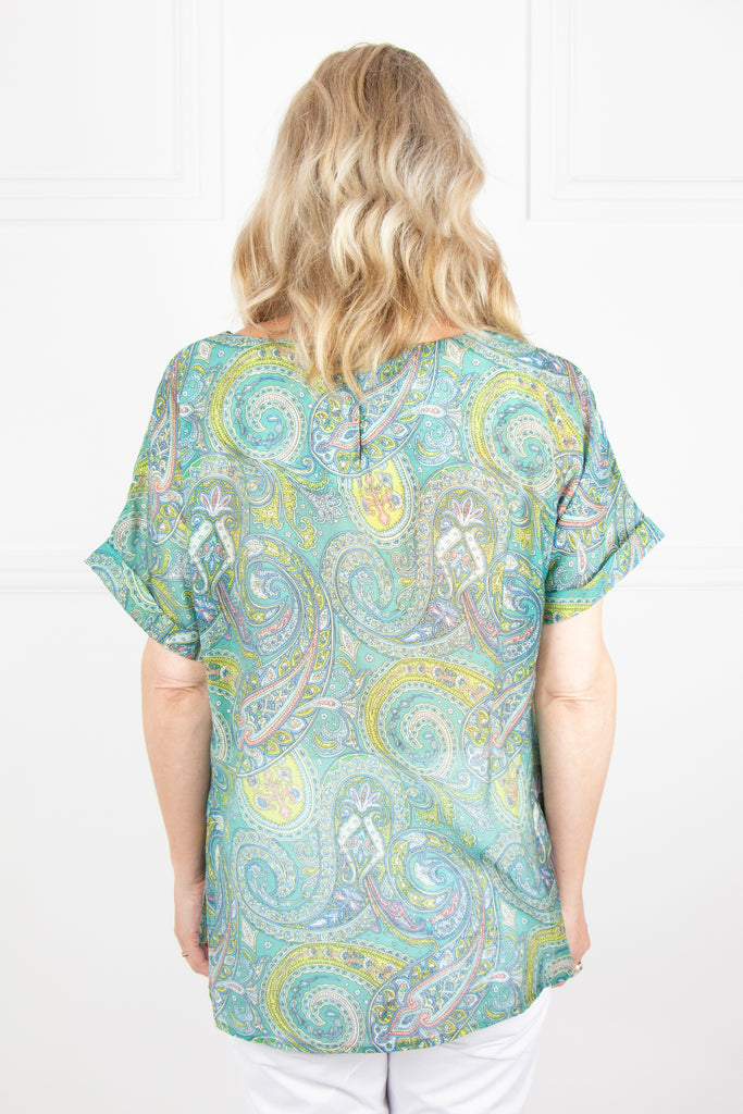 Green Paisley Cap Sleeve Top - desray.co.za
