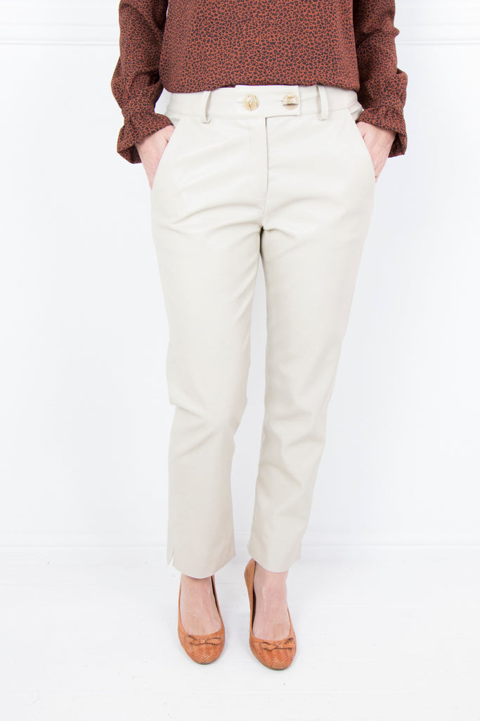 Cream Leatherette Pants - desray.co.za