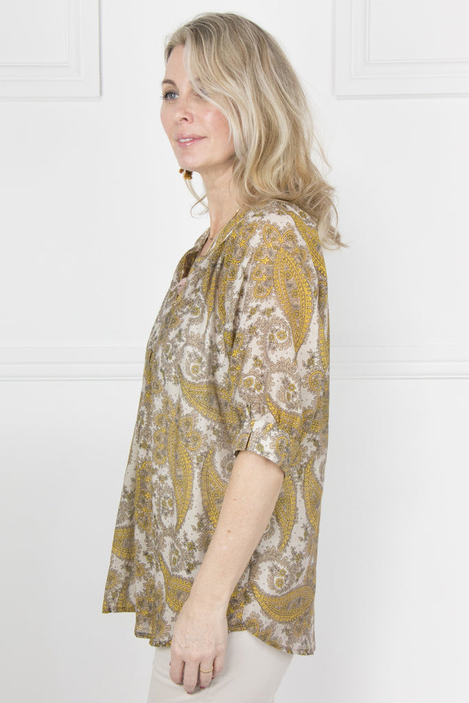 Yellow and Stone Paisley Top - desray.co.za