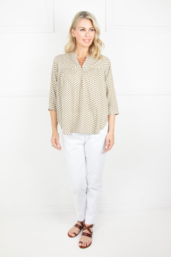 Cream and Olive Curve Hem Top - desray.co.za