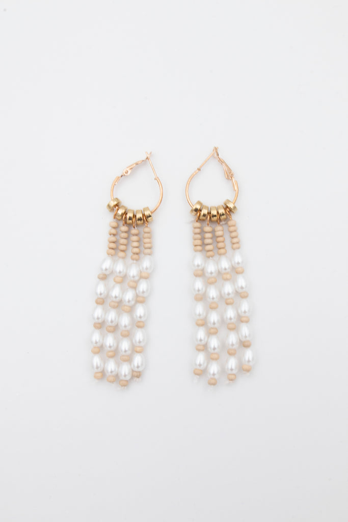 Gold Hanging Pearl Earrings - desray.co.za