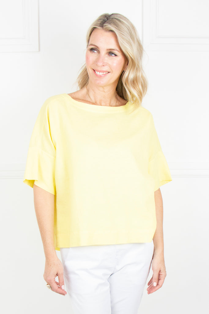 Yellow Linen Boxy Top - desray.co.za