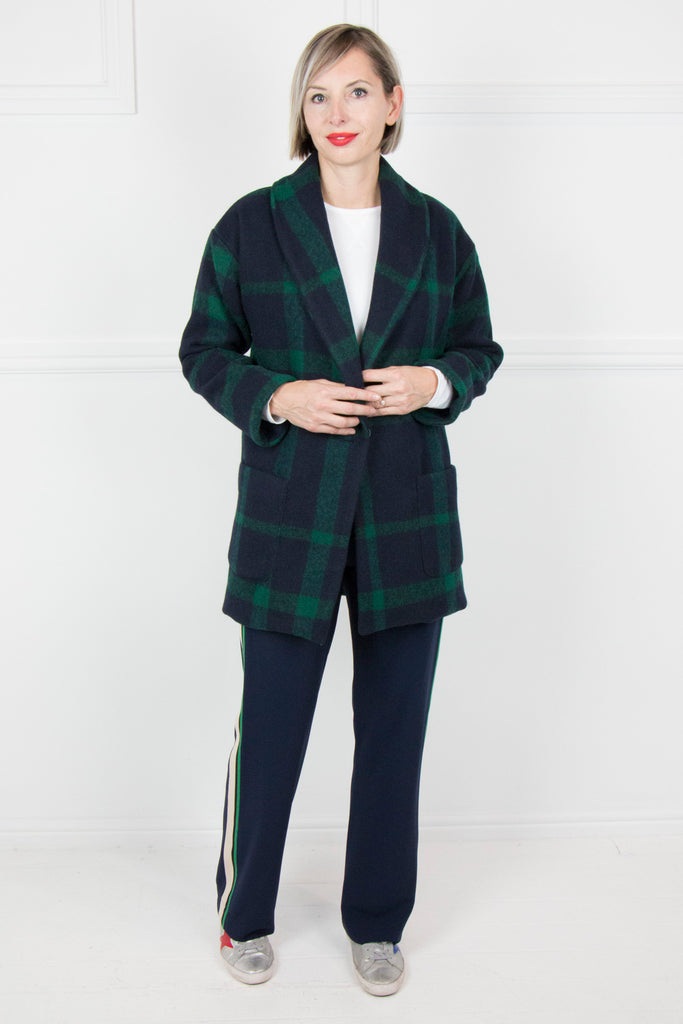 Green and Navy Check Car Coat - desray.co.za