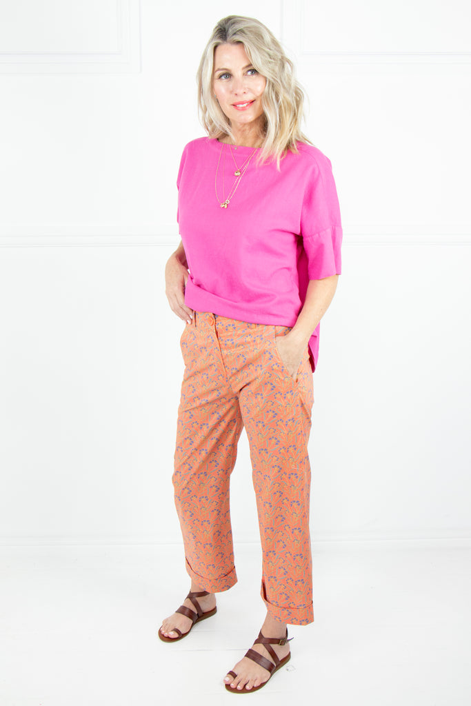 Peach Floral  Pants - desray.co.za