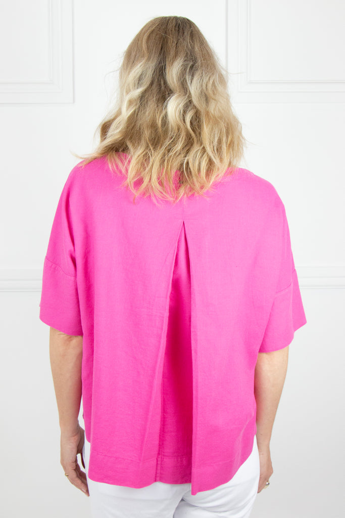 Pink Linen Boxy Top - desray.co.za