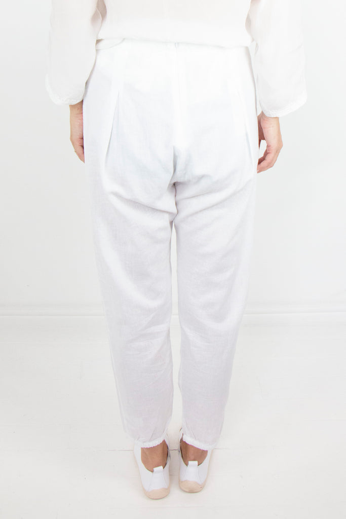 White Linen Boho Pants - desray.co.za