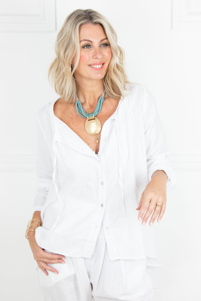 White Linen Flair Top - desray.co.za