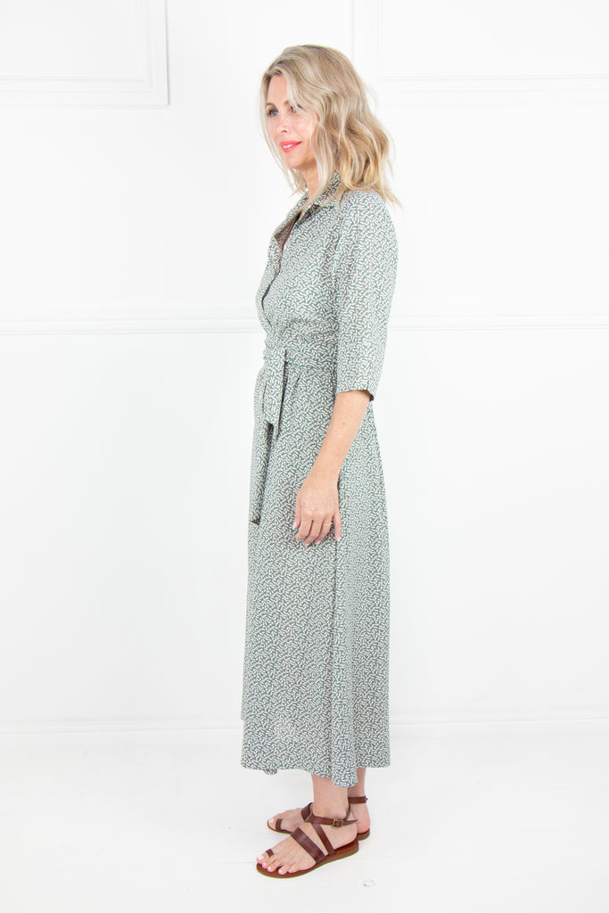Olive Print Button Through Dress - desray.co.za