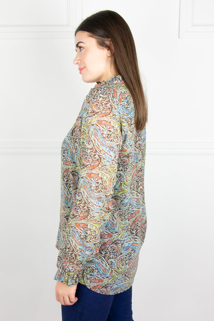 Multi Paisley Frill Neck Shirt - desray.co.za