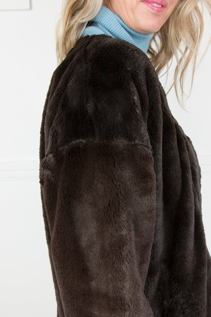 Choc Fur Jacket - desray.co.za