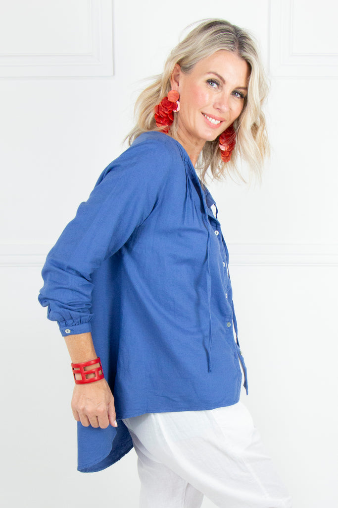 Indigo Linen Flair Top - desray.co.za
