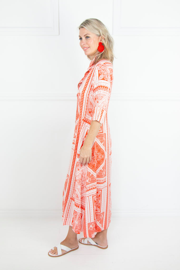 Orange and White Button Through Dress - desray.co.za