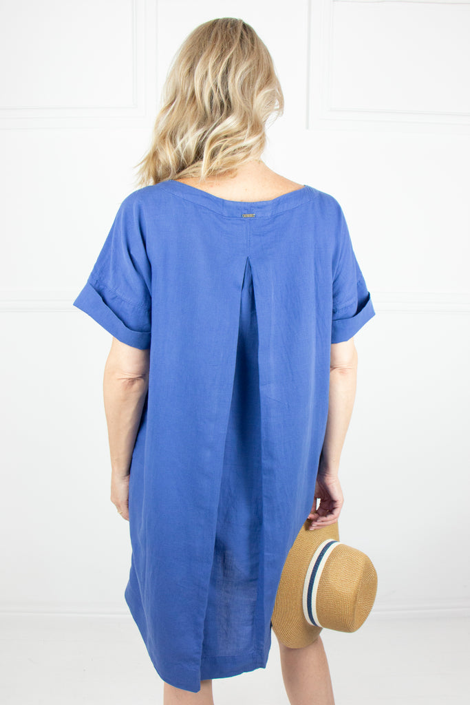 Indigo Linen Boxy Dress - desray.co.za