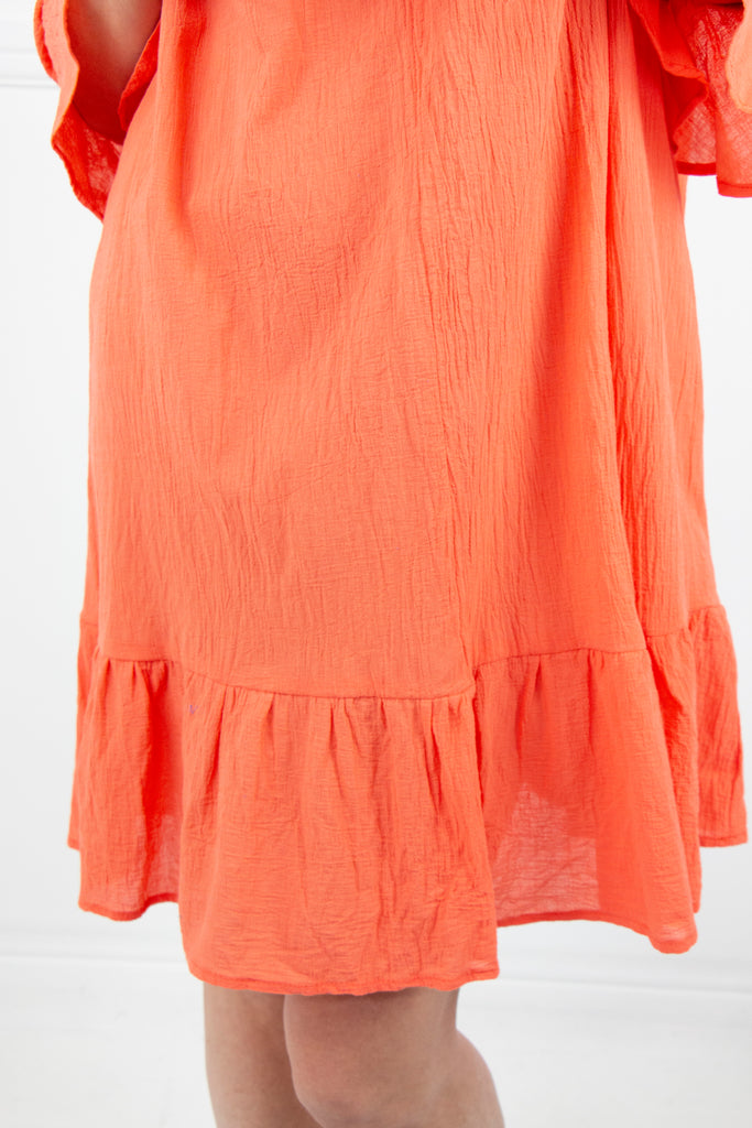 Peach 3/4 Frill Sleeve Dress - desray.co.za