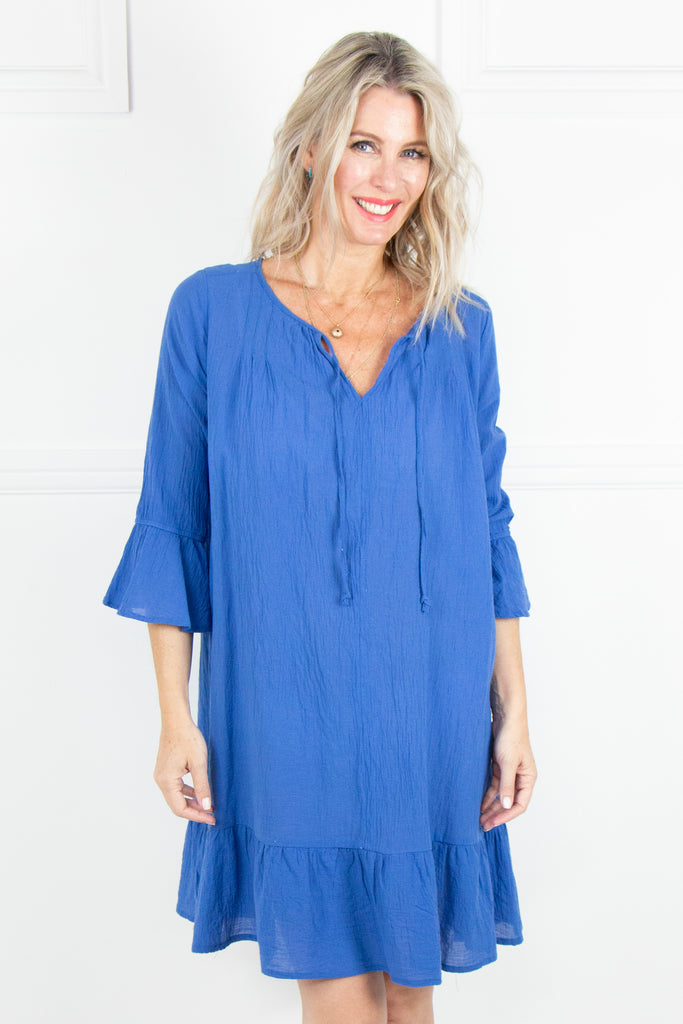 Indigo 3/4 Frill Sleeve Dress - desray.co.za