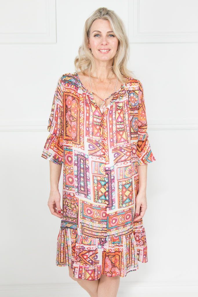 Print 3/4 Frill Sleeve Dress - desray.co.za