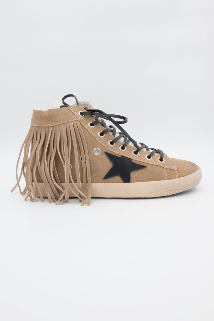 Tan High Top Star Tassel Sneakers - desray.co.za