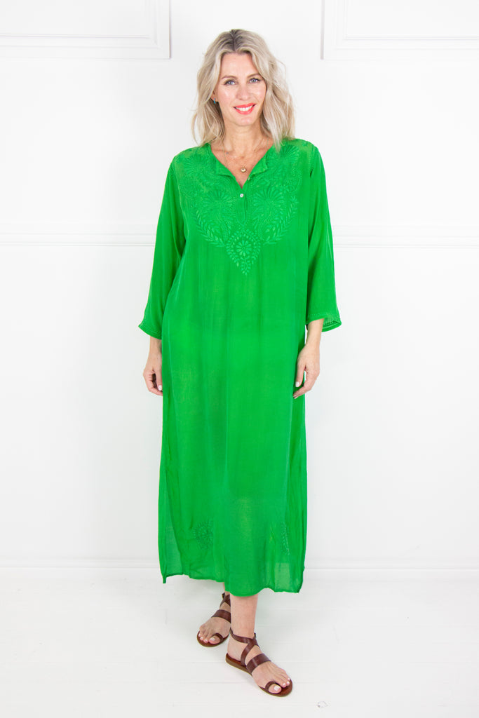 Green Long Kaftan - desray.co.za