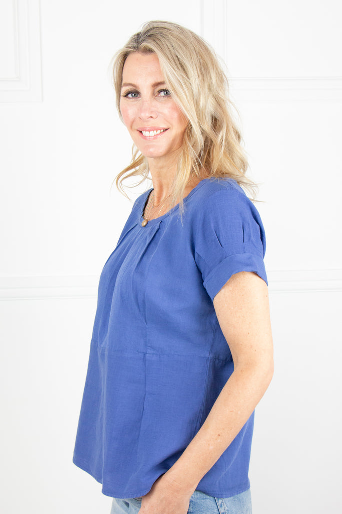 Indigo Linen Pleat Top - desray.co.za