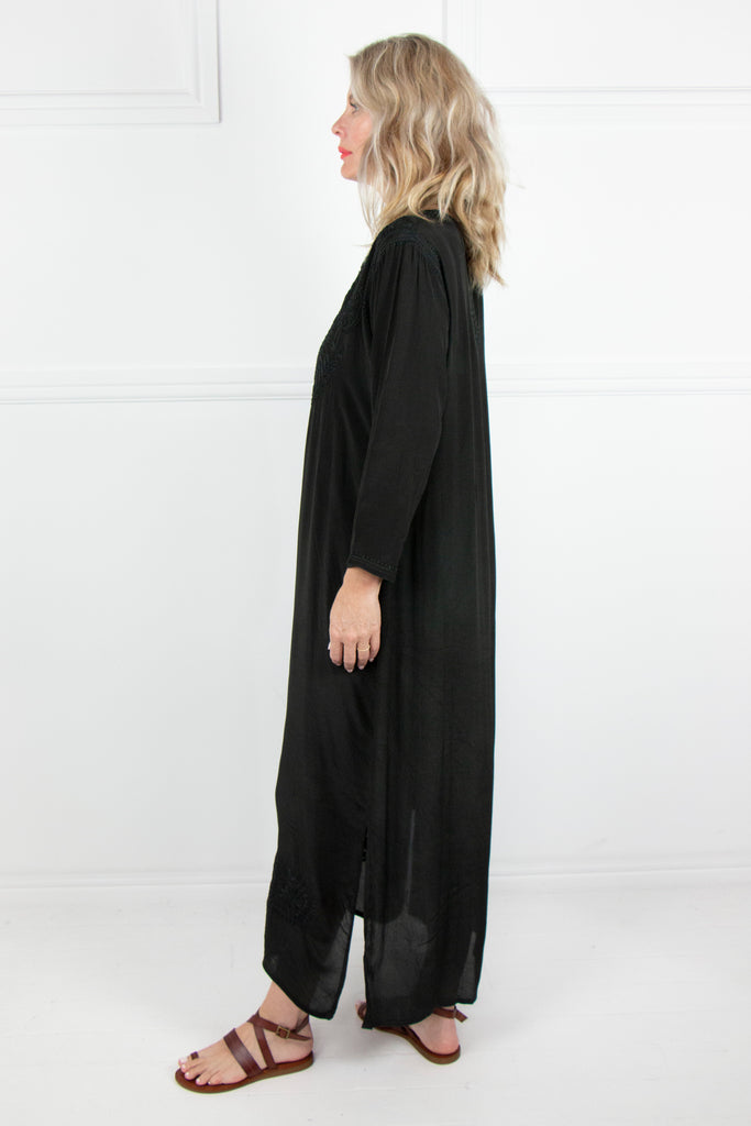 Black Long Kaftan - desray.co.za