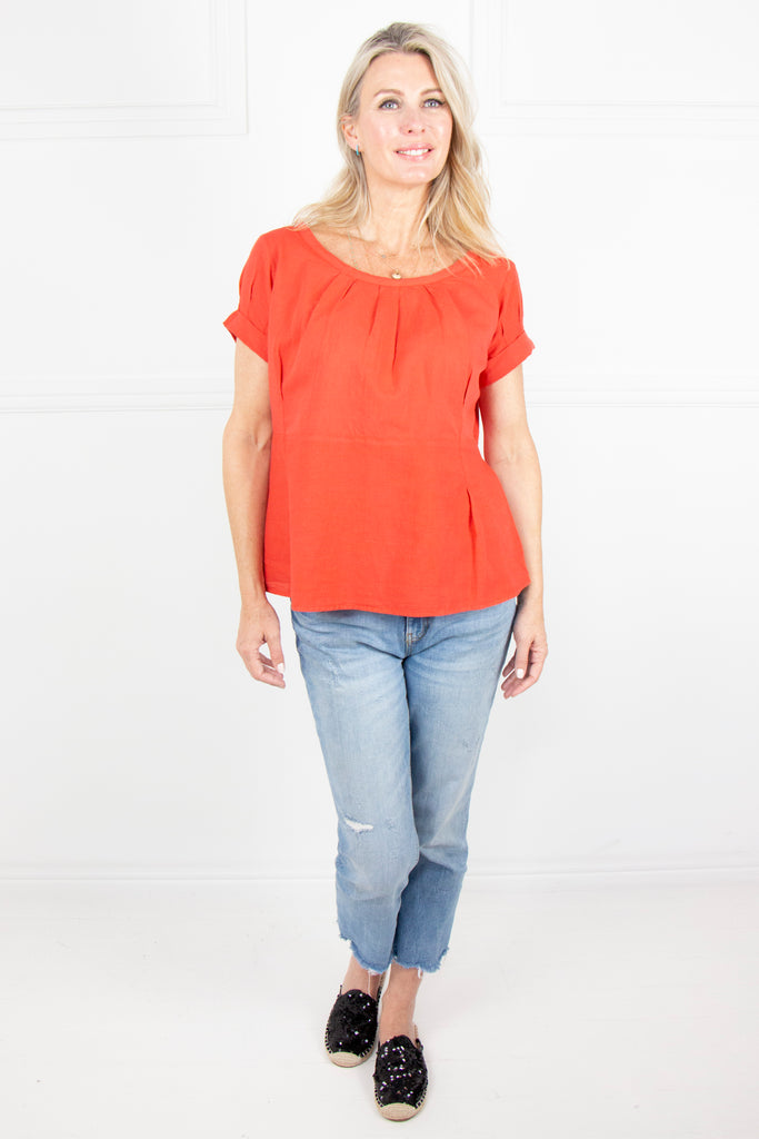 Orange Linen Pleat Top - desray.co.za