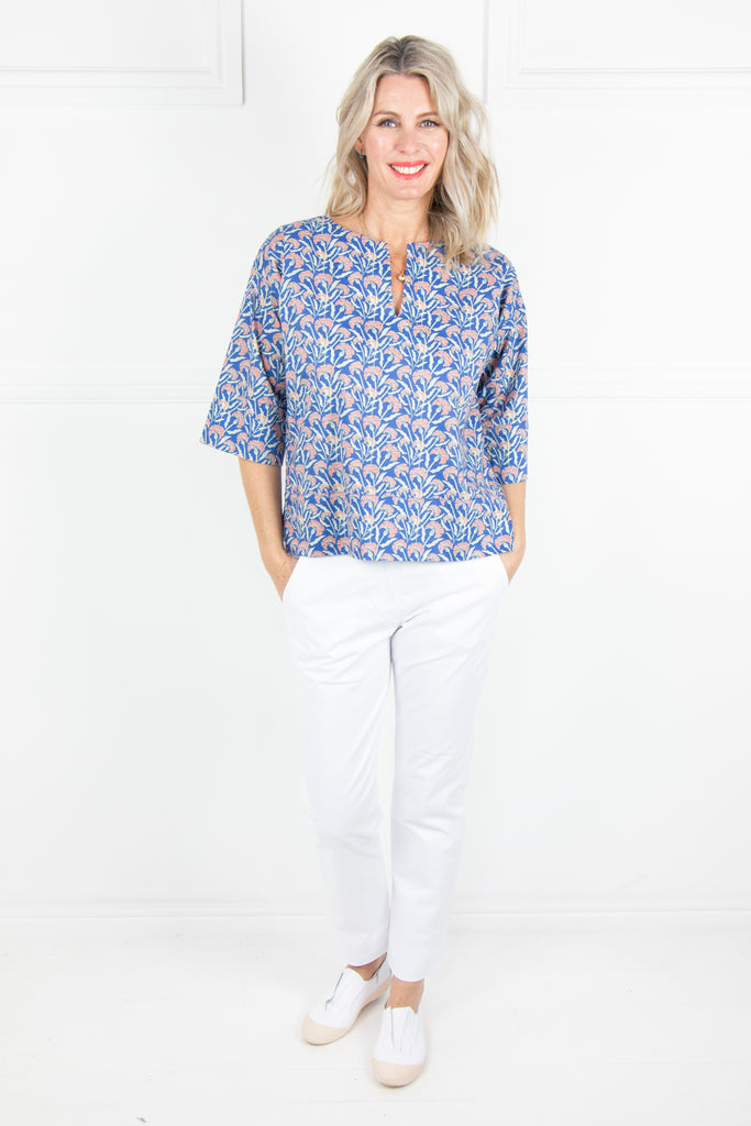 Blue Floral Top - desray.co.za