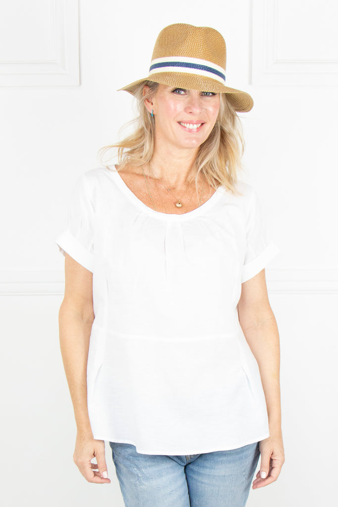 White Linen Pleat Top - desray.co.za