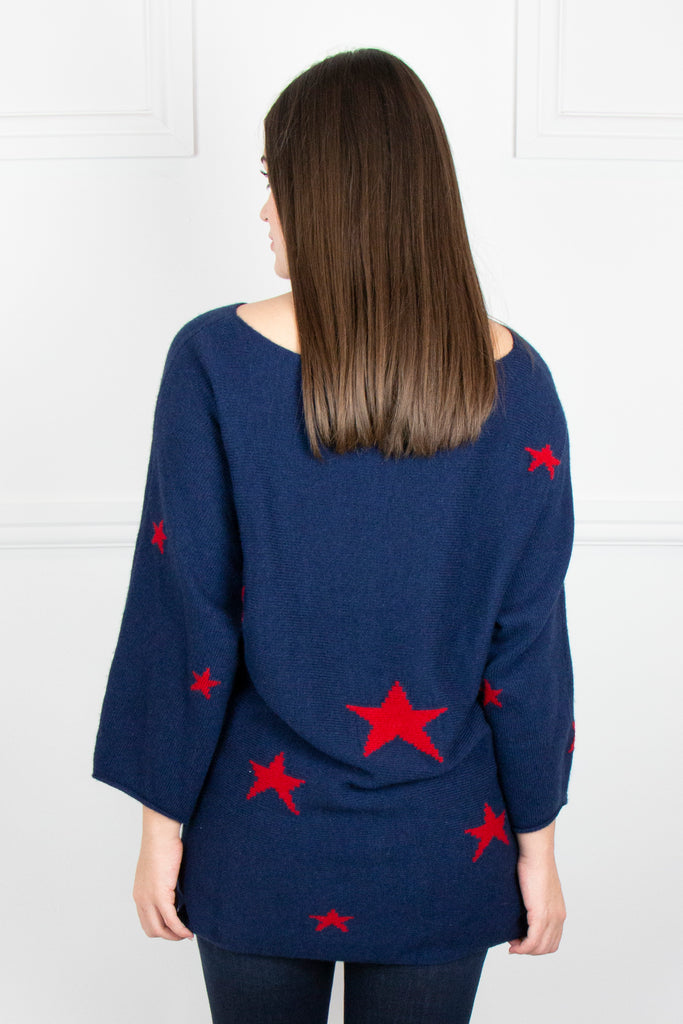 Blue/Red Raglan Star Jumper - desray.co.za