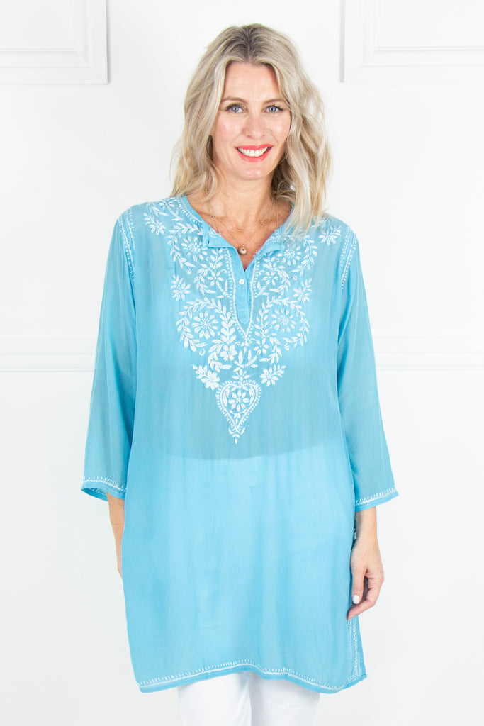 Sky Blue Kaftan Tunic - desray.co.za