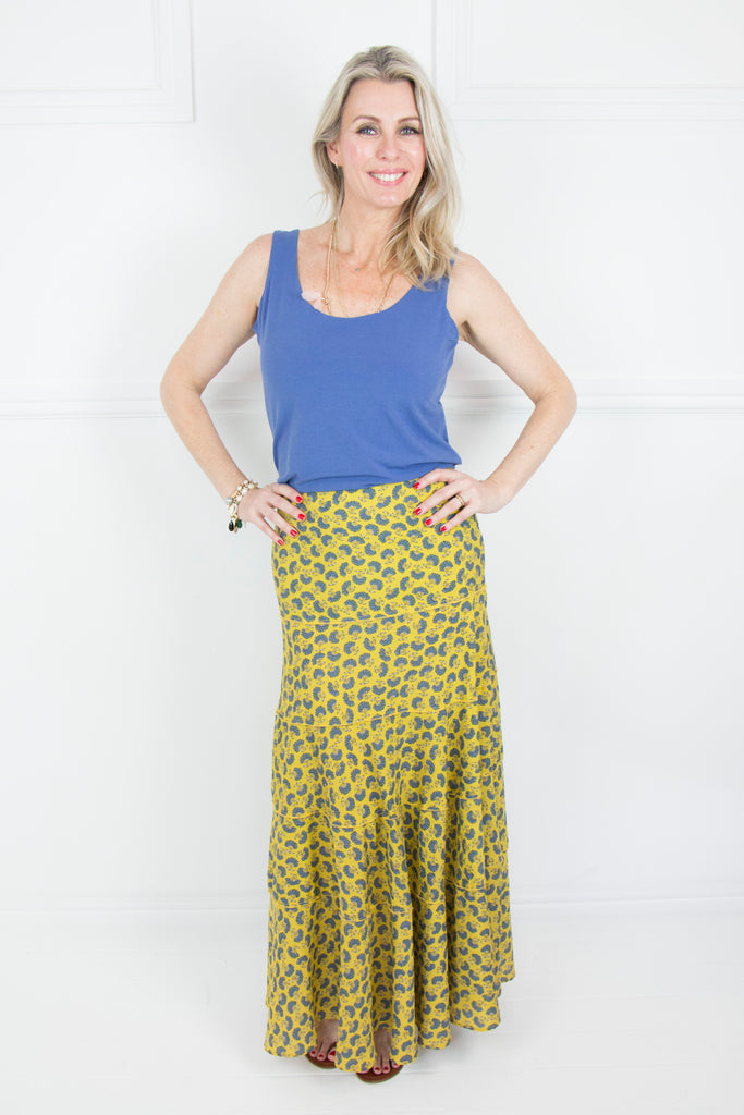 Mustard and Blue 4 Tier Skirt - desray.co.za