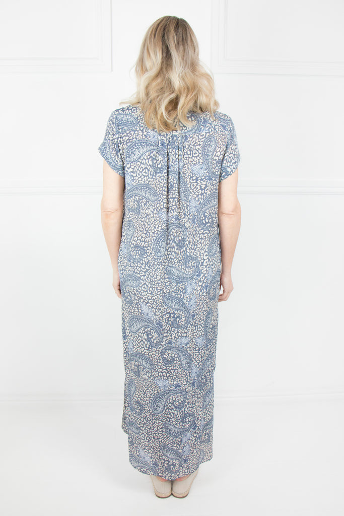 Denim Paisley Print Curve Hem Dress - desray.co.za