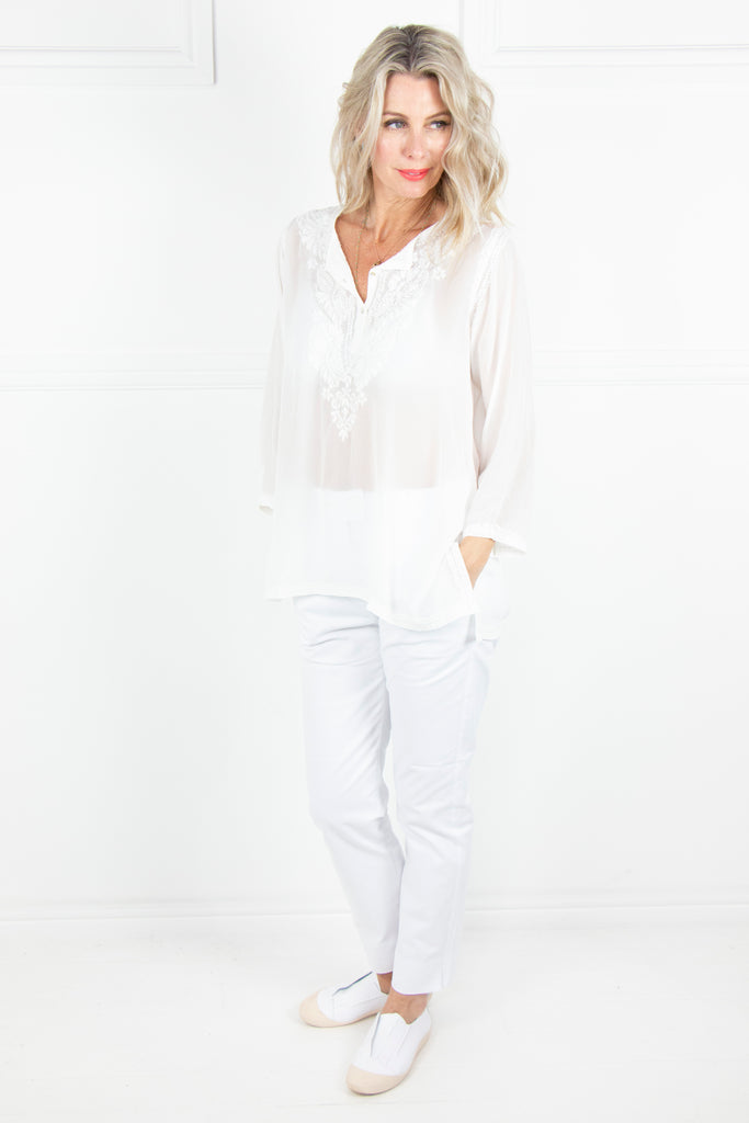 White Kaftan Top - desray.co.za
