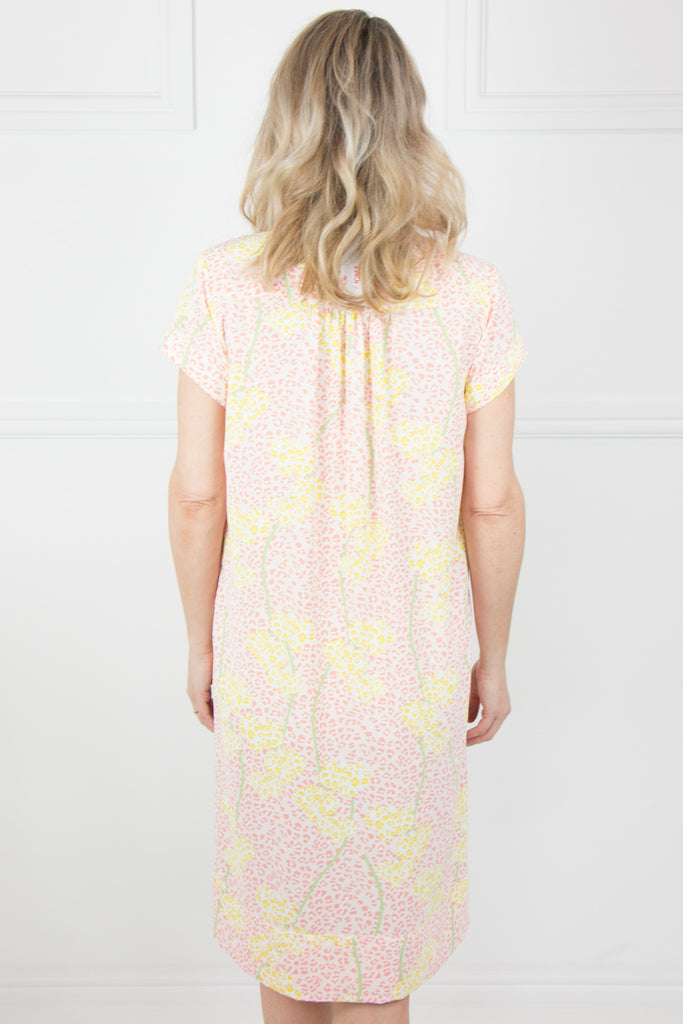 Peach and Yellow Cap Sleeve Dress - desray.co.za