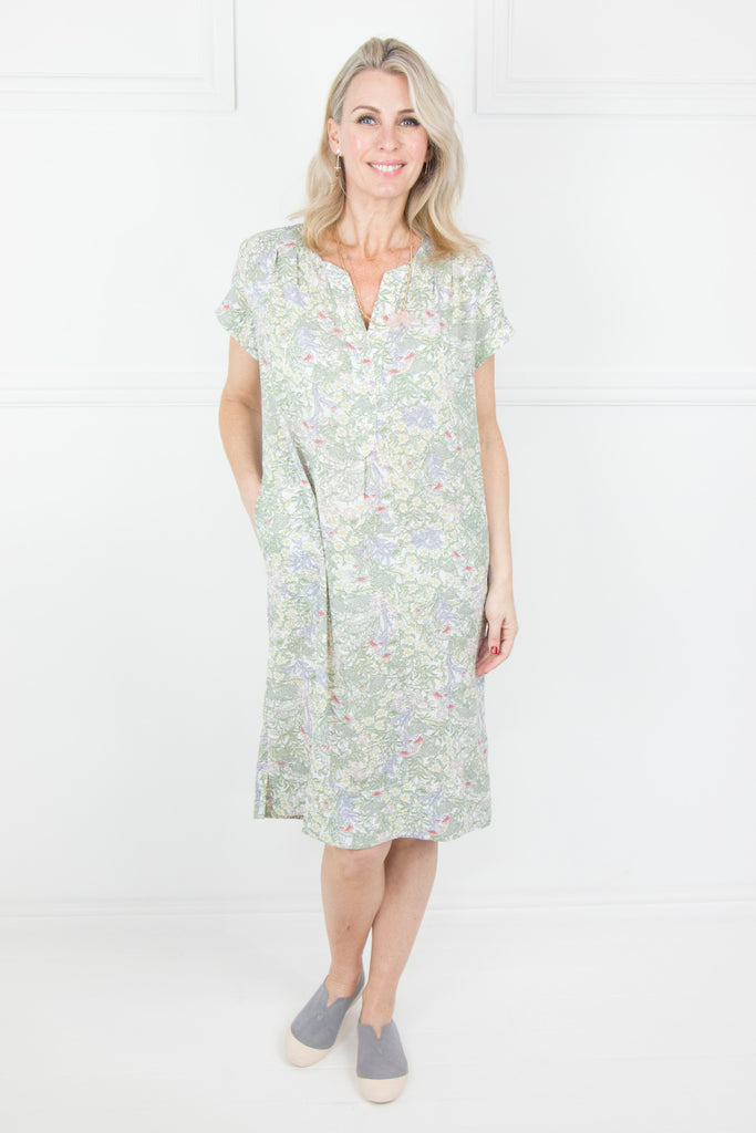 Floral Cap Sleeve Dress - desray.co.za