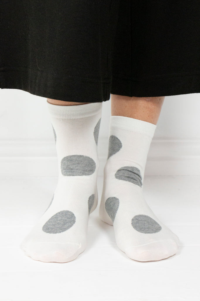 Ivory and Grey Polka Dot Socks - desray.co.za