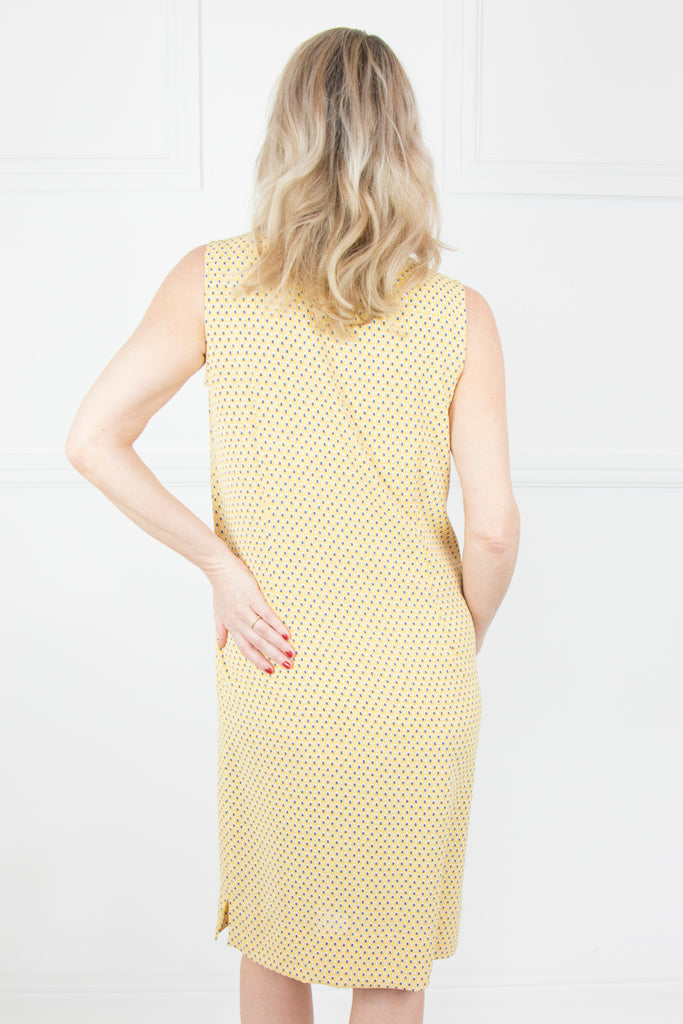 Yellow and Navy Sleeveless Dress - desray.co.za
