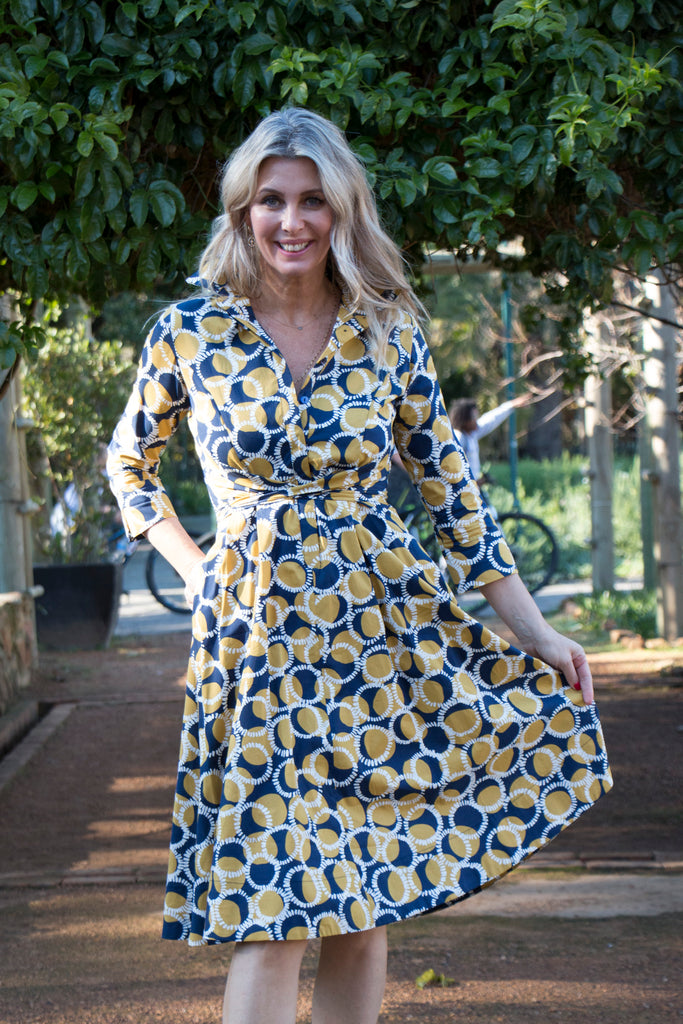Navy and Mustard Moyo Dress - desray.co.za