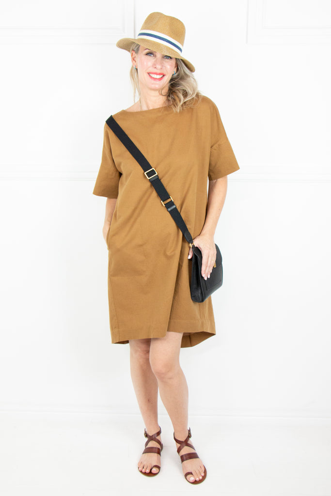 Tan Linen  Boxy Dress - desray.co.za