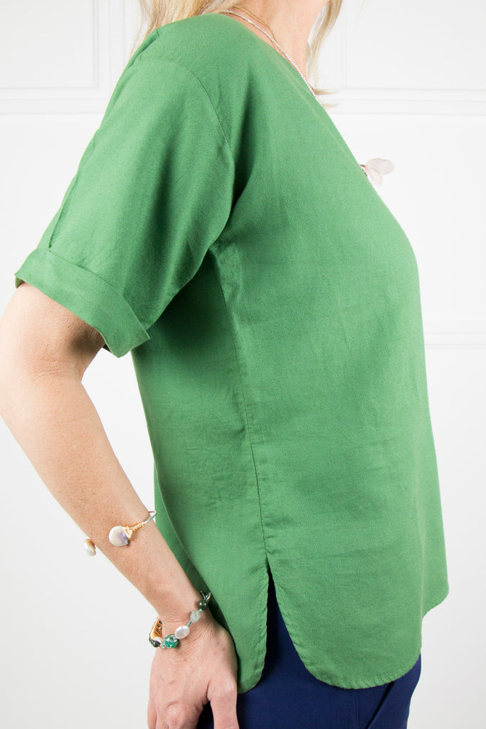 Green Linen T-shirt Top - desray.co.za
