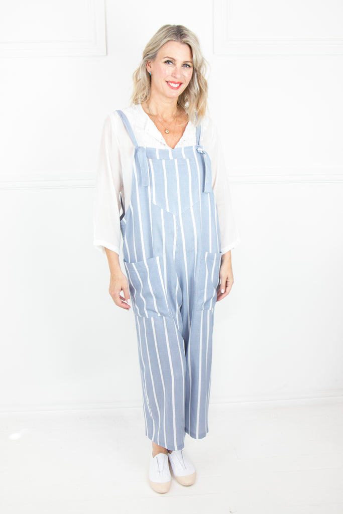 Blue Stripe Dungarees - desray.co.za