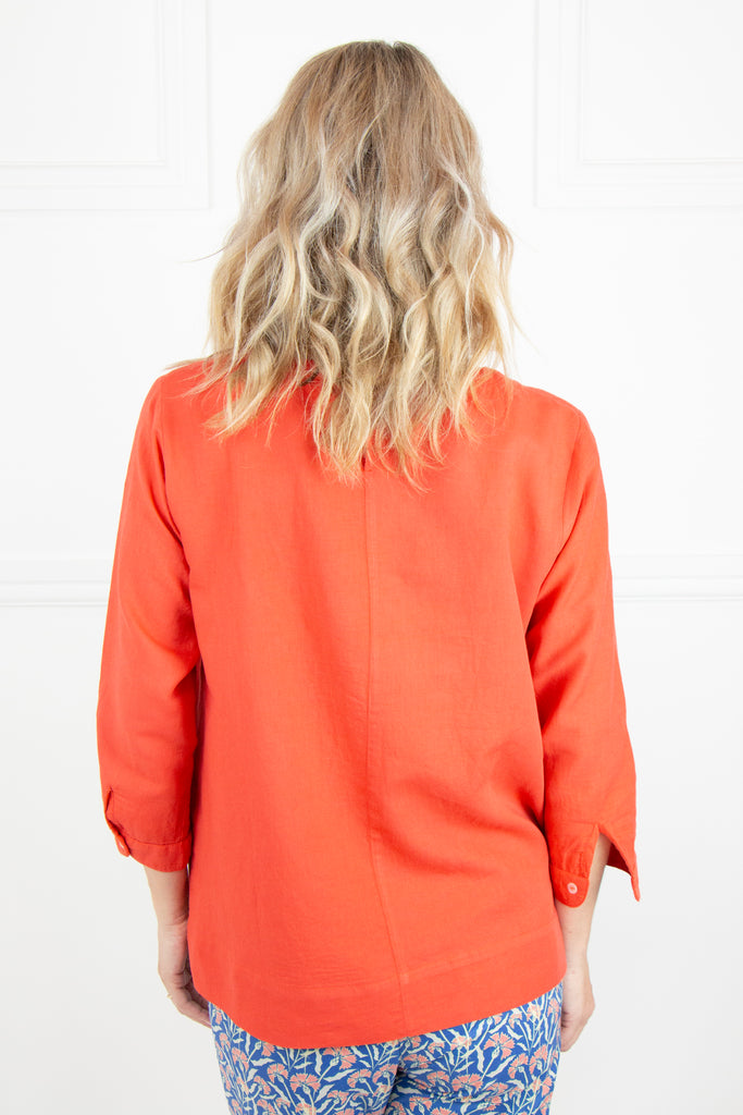 Orange Linen Classic Top