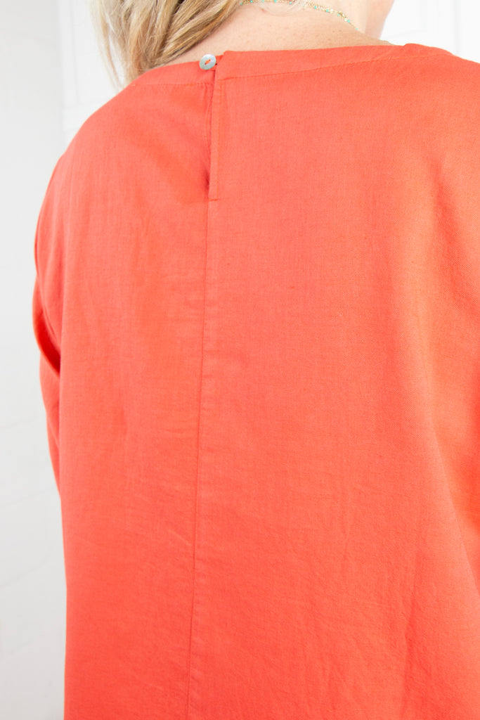 Orange Linen Classic Top - desray.co.za